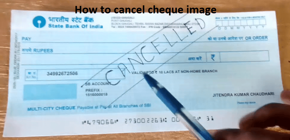 How to cancel cheque image
