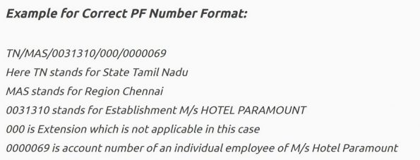 How PF account number looks like with example details via image format